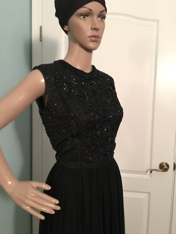 Chiffon Beads Cocktail 1960s Dress and 0Bqn7