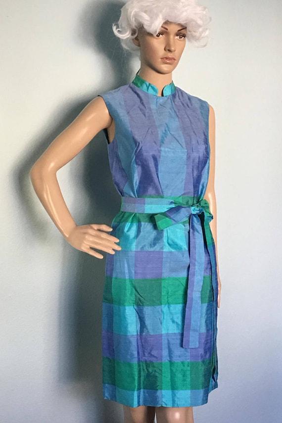 Shamrock Plaid Raw Silk Dress