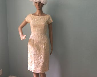 1950s Cream and White Sequins Wiggle Dress