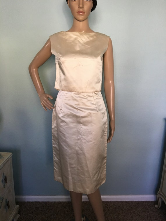 1960s Cream Two-Piece Evening Dress