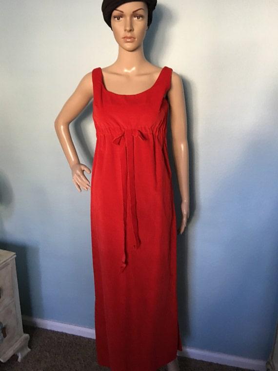 1960s Red Velvet Gown