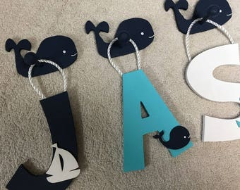 Hampton - Nautical - Whale - Hand Painted - Custom - Wooden Wall Letters