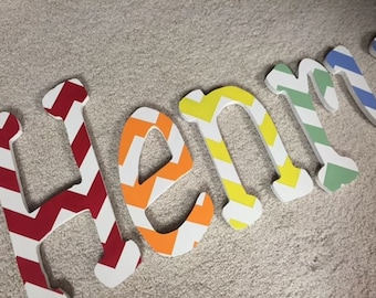 Happy Chevron - hand painted - custom - wooden - Nursery letters - hanging