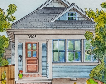 Watercolor House Portrait, Custom Vacation home or Cottage painting, Original painting from your photo, Your home drawn in watercolor