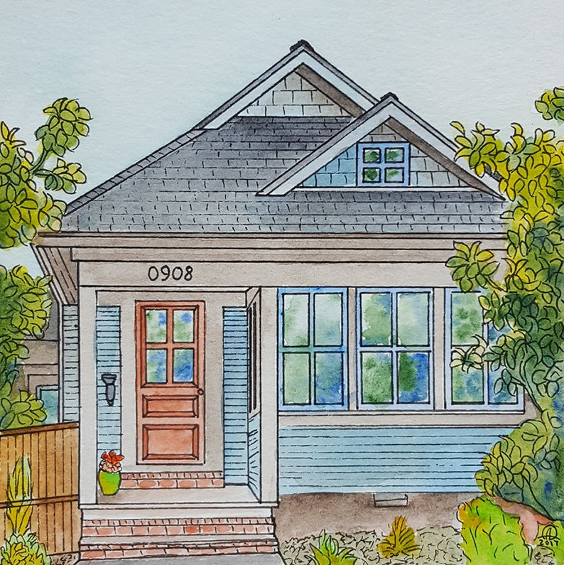 Watercolor House Portrait Custom Vacation home or Cottage image 1