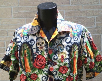 Dia de los muertos Hawaiian shirt with inspired images of the Virgin of Guadalupe
