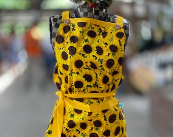 Beautiful apron with colorful bright sunflowers