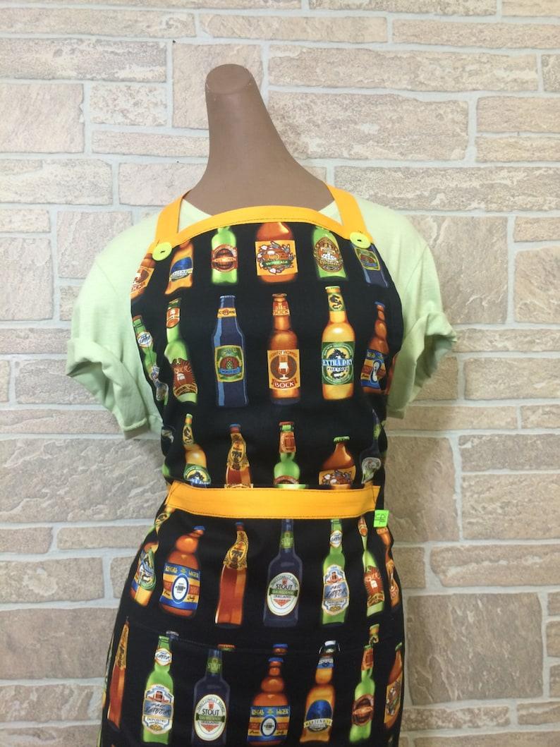 Unisex apron Beer apron Beer bottle apron Hostess apron Party apron 3 in 1 apron