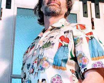 Mexican inspired mens shirt, Cream Hawaiian shirt, casual friday work shirt, party shirt, dance shirt