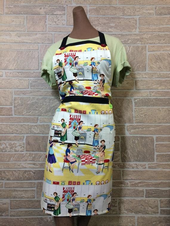 Retro ladies baking apron, retro kitchen apron, retro kitchen, retro stove,  hostess apron, novelty apron