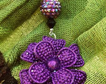 SALE Purple Sparkle Flower Necklace
