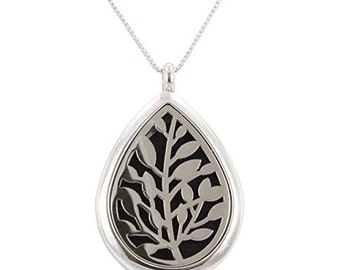 Aromatherapy Leaf Necklace, Essential Oil Diffuser Locket, Stainless Steel Diffuser, Oil Jewelry, Diffuser Jewelry, Women , #6379-ss