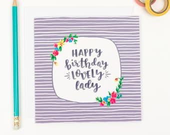 Happy birthday Lovely Lady - Friendship Birthday card - birthday card for friends - uk