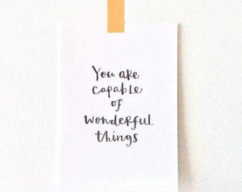 Wonderful things Print - Motivational Print - Print for friends - Gift for children - Graduation gift