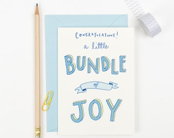 New baby boy card - Bundle of Joy card - Birth congratulations card - card for new parents - card for new baby son