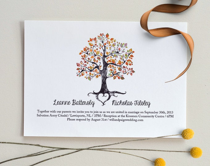 The Autumn Folk Tree / Wedding Invitation / DIY Printable PDF Template / Digital Download