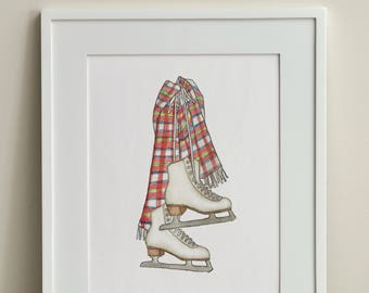 Figure Skates / 8x10 Print / FREE SHIPPING