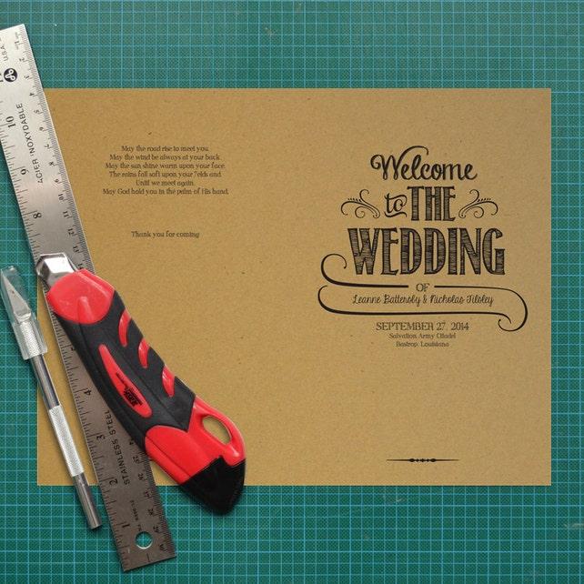 Hand Lettered Rustic Love DIY Kraft Paper Wedding Program Order Of Service Printable PDF Template