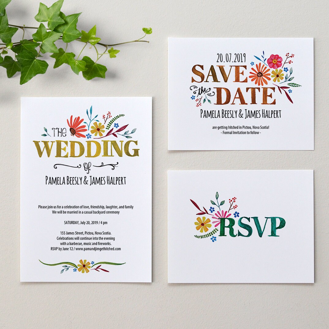 Wedding Invitation Packages Canada: Bloom / Wedding Invitation Package / DIY Printable PDF