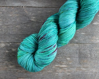 Speckled Sock Yarn - Superwash Merino Nylon Yarn - Knitting - Crochet - Hand dyed - Indie Yarn - Blue Green Yarn - 400 yards - EASTER BASKET