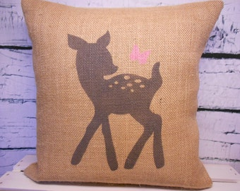 Baby deer - fawn and butterfly burlap pillow - perfect for a rustic nursery - child's name can be added