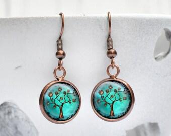 Turquoise Earrings Tree of Life, Dangle Earrings, Copper Jewelry