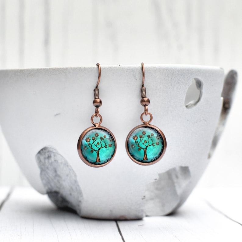 Turquoise Earrings Tree of Life Dangle Earrings Copper image 0