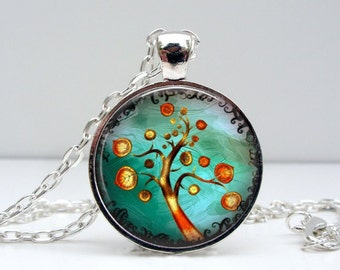 Orange Tree Necklace : Glass Picture Pendant Photo Pendant Handcrafted Jewelry  (1405)