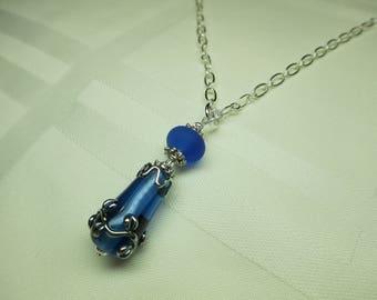 Sapphire Blue Lampwork Bead Pendant Necklace