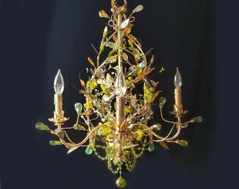 """Chandelier Lighting/Light Sculpture, Gold and Silver Fish, One of a Kind, 23""""w. x 29""""h."""