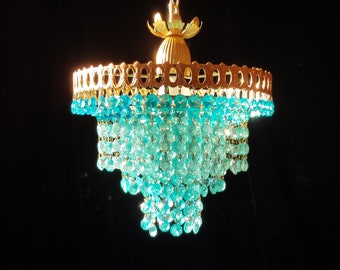 "Aqua Crystal Chandelier Lighting, One of a Kind, 12""x 12"""