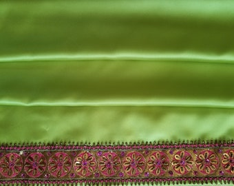"""Curtains, Chartreuse Green Satin with Yellow Satin Gimp Trim and Hot Pink Beaded and Sequined Trim, 28""""w. x 84""""l."""