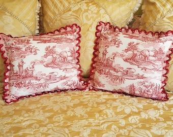 "Pillow Pair, Vintage Cotton Toile with Hand Dyed Satin Gimp Trim, 19"" w. x 18""h. Each"