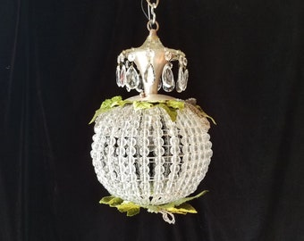 """Pendant Chandelier Lighting, Plant/Nature Inspired, Glass with Vintage Beaded and Velvet leaves, 13.5""""h. x 11""""w."""
