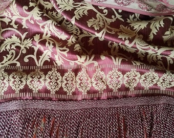 """Satin Damask Curtains, Dark Wine and Gold Reversible with Long Bullion Fringe, Mint Condition, 44""""w. x 88""""l. Each Rod Pocket Panel"""