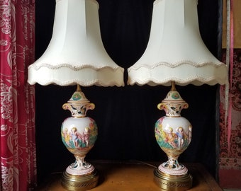 Capodimonte Lamp Pair With Original Shades, Hand Painted and Enameled, Excellent Condition