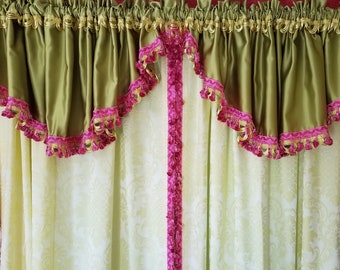 Valance Pair, Chartreuse Green Satin with Yellow and Pink Trim, Rod Pocket