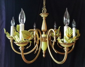 """Vintage Chandelier Lighting, Spanish Brass and Agate, 24""""h. x 16""""w., Chartreuse Green"""