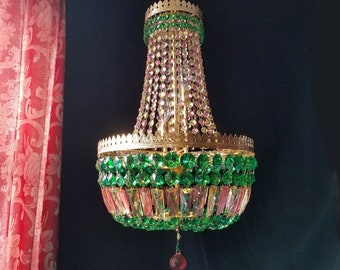 """Chandelier Lighting, Bohemian Crystal, Empire Style in Autumn Colors, 15""""w. x 26"""" h., Layaway Available"""
