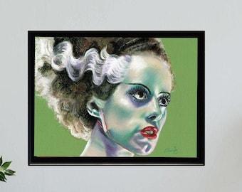 BRIDE OF FRANKENSTEIN - Universal Monsters -  Art Horror Print.  Unframed, Wall Art, Chantal Handley, Horror Movie, Halloween