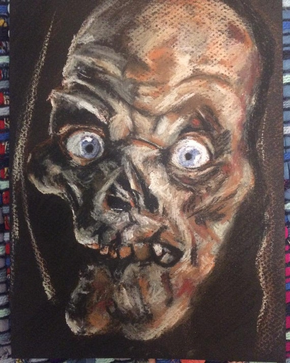 The Crypt Keeper Original Pastel Drawing Tales From The Crypt Crypt Corpse Horror Art Halloween Halloween Art