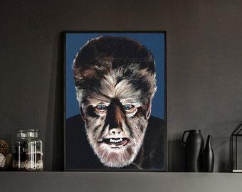 WOLFMAN - Lon Chaney Jnr - The Wolfman -  Art Horror Print.  Unframed., Horror, Chantal Handley