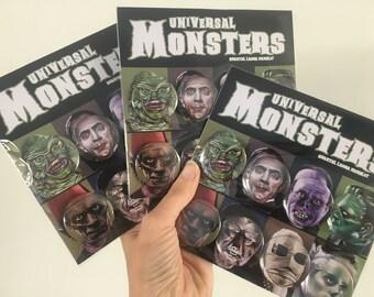 UNIVERSAL MONSTERS Horror Badges Horror Art, Halloween, Halloween Art, Horror, Chantal Handley, Halloween