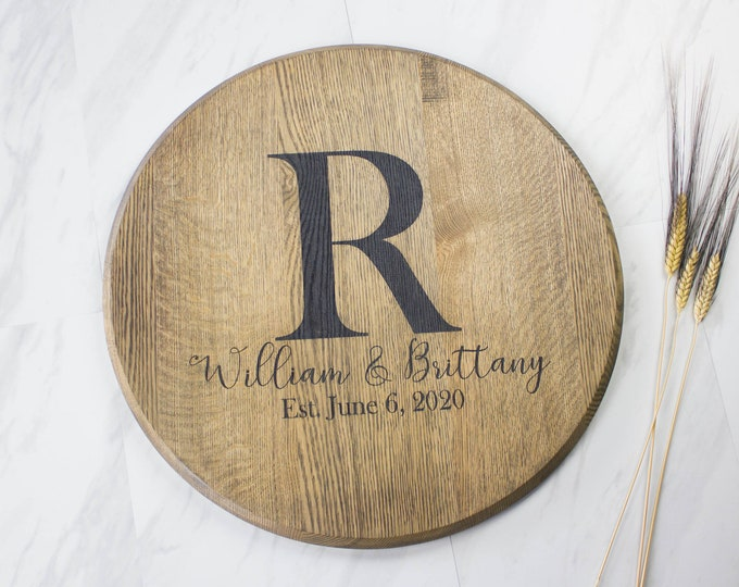 Bourbon Barrel Head Engagement Gift for Couple Personalized Wedding Gift Personalized Lazy Susan Unique Guest Book Bridal Shower Gift