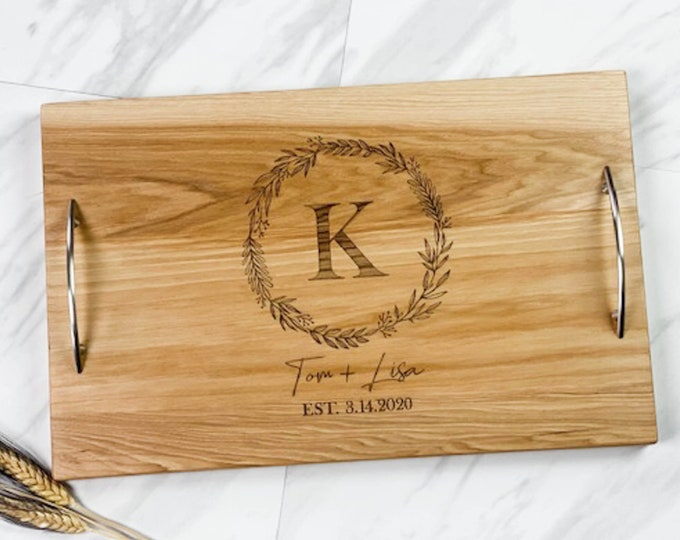Personalized serving tray with handles, Wedding gift for couple, Charcuterie board