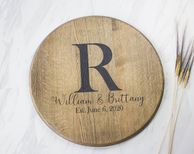 Alternative Wedding Guest Book Custom Wedding Guest Book Bourbon Barrel Head Lazy Susan Wood Wedding Sign Family Name Sign Monogram Sign