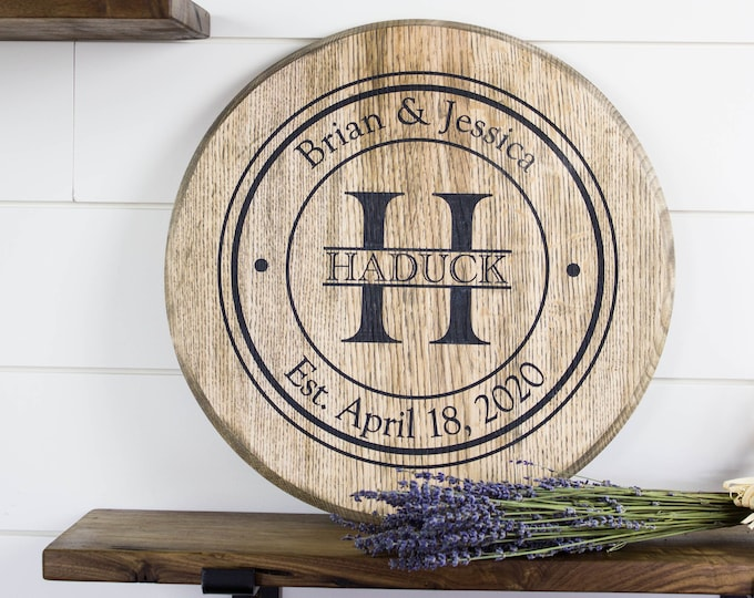 Personalized family name sign wood lazy susan, Mothers Day gift, Anniversary gift for parents, Housewarming gift, Bourbon barrel head