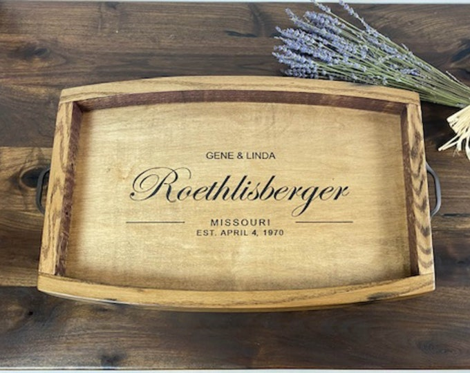 Wine barrel tray, Personalized anniversary gift for parents, Wood serving tray with handles, Personalized valet tray