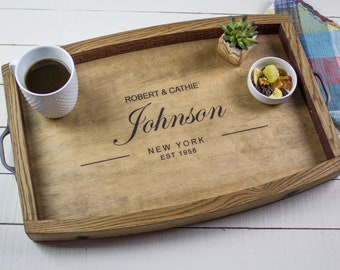 Anniversary Gift, Personalized Serving Tray, Coffee Tray, Wedding Gift, Wine Barrel