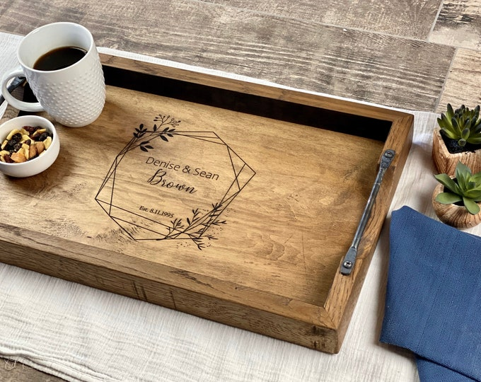 Personalized wedding gift for couple, Serving tray with handles, First anniversary gift, Personalized wood tray